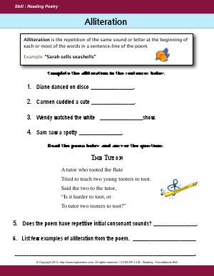 Preview image for worksheet with title Alliteration