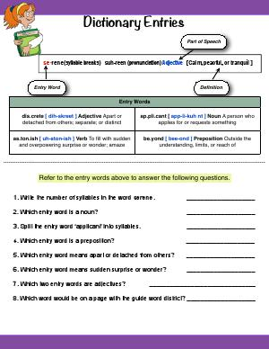 Preview image for worksheet with title Dictionary Entries