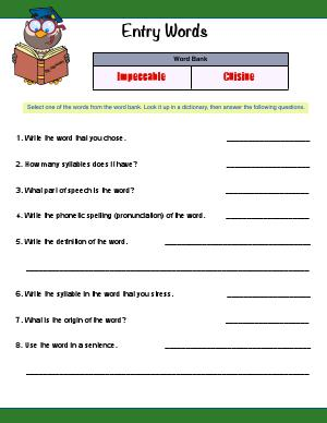 Preview image for worksheet with title Entry Words