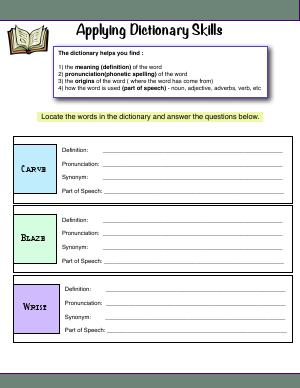 Preview image for worksheet with title Applying Dictionary Skills