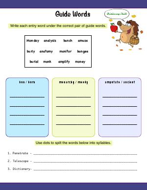 Preview image for worksheet with title Guide Words