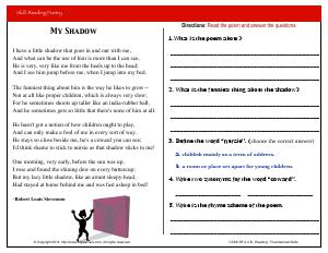 Preview image for worksheet with title My Shadow