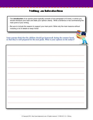 Preview image for worksheet with title Writing an Introduction
