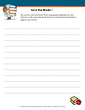 Preview image for worksheet with title Love For Books !
