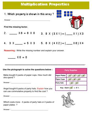 Preview image for worksheet with title Multiplication Properties 2