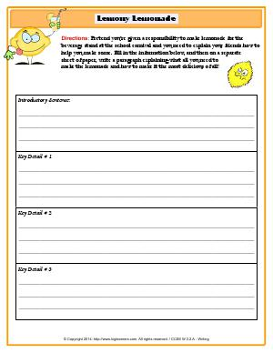 Preview image for worksheet with title Lemony Lemonade