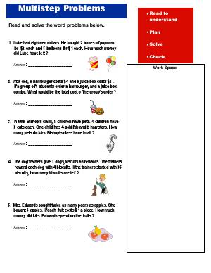 Preview image for worksheet with title Multistep Problems