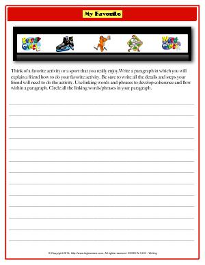 Preview image for worksheet with title My Favorite