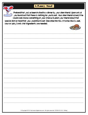 Preview image for worksheet with title A Fancy Meal