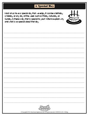 Preview image for worksheet with title A Special Day