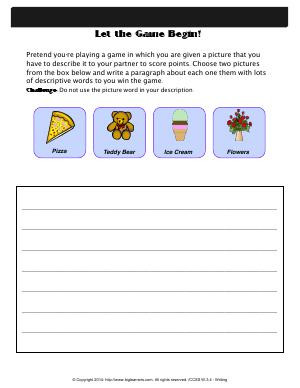 Preview image for worksheet with title Let the Game Begin!