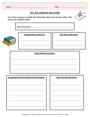 Preview image for worksheet with title My Favorite Author
