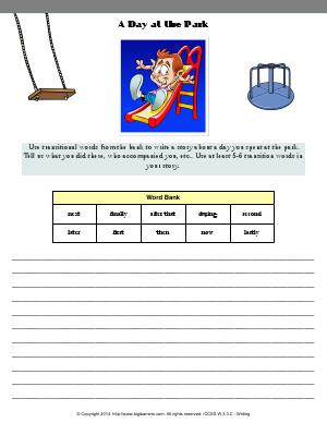 Preview image for worksheet with title The Day at the Park