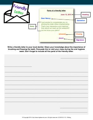 Preview image for worksheet with title Friendly Letter