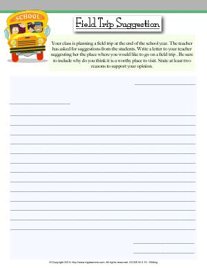 Preview image for worksheet with title Field Trip Suggestion