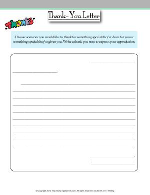 Preview image for worksheet with title Thank-You Letter