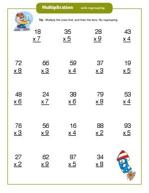Preview image for worksheet with title Multiplication with Regrouping