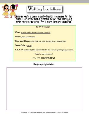 Preview image for worksheet with title Writing Invitations