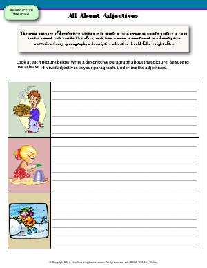 Preview image for worksheet with title All About Adjectives