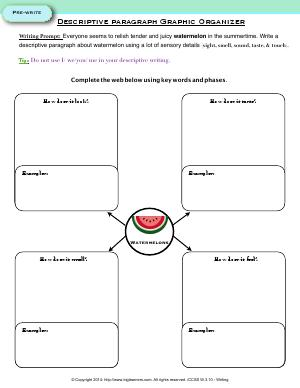 Preview image for worksheet with title Descriptive paragraph