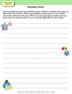 Preview image for worksheet with title Birthday Party