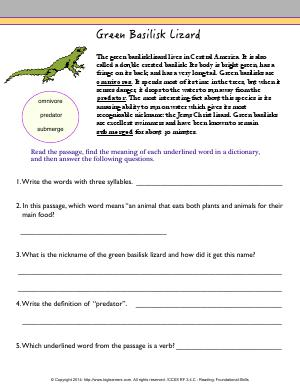Preview image for worksheet with title Green Basilisk Lizard