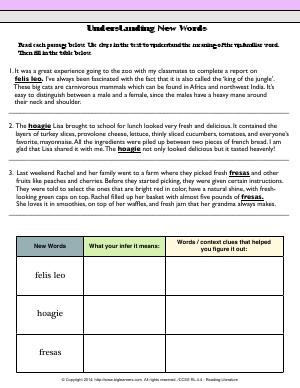 Preview image for worksheet with title Understanding New Words