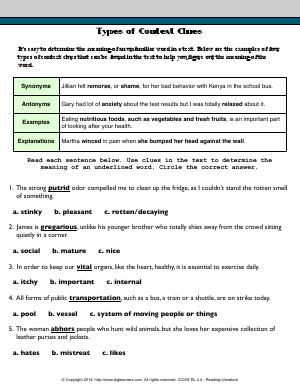 Printables Common Core English Worksheets grade 4 free common core english worksheets biglearners preview image for worksheet with title types of context clues