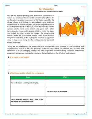 Preview image for worksheet with title Earthquakes