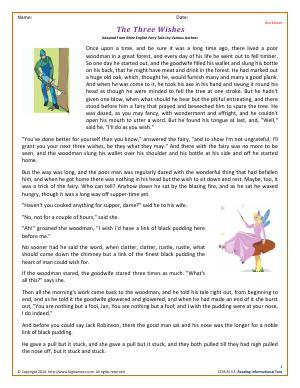 Preview image for worksheet with title The Three Wishes