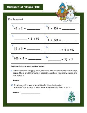 Preview image for worksheet with title Multiples of 10 and 100
