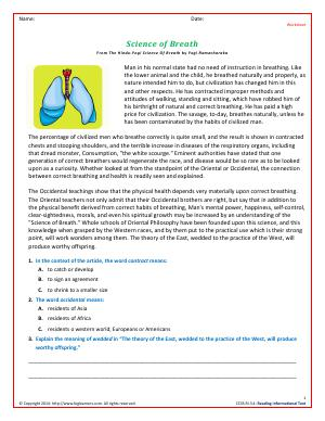 Preview image for worksheet with title Science of Breath