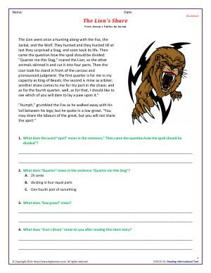 Preview image for worksheet with title The Lion's Share