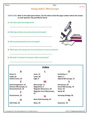 Preview image for worksheet with title Using Index: Microscope