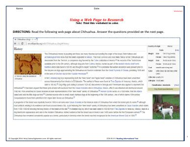 Preview image for worksheet with title Using a Web Page to Research