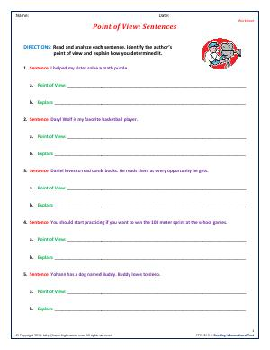 Preview image for worksheet with title Point of View : Sentences