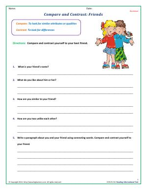 Preview image for worksheet with title Compare and Contrast: Friends