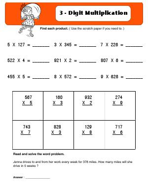 Preview image for worksheet with title 3 - Digit Multiplication