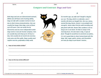 Preview image for worksheet with title Compare and Contrast: Dogs and Cats