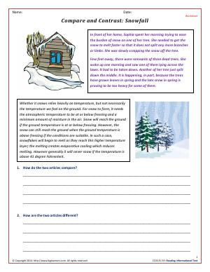 Preview image for worksheet with title Compare and Contrast: Snowfall