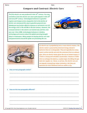 Preview image for worksheet with title Compare and Contrast: Electric Cars