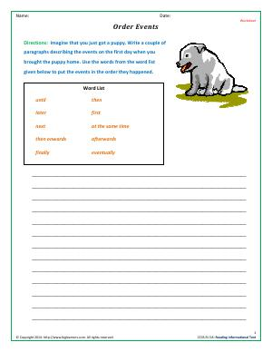 Preview image for worksheet with title Order Events