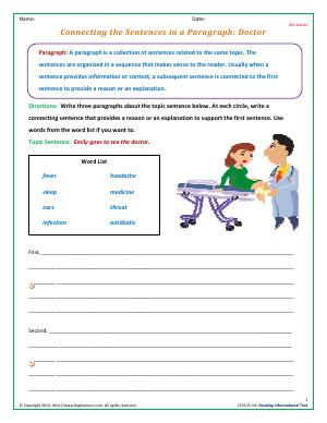 Preview image for worksheet with title Connecting the Sentences in a Paragraph: Doctor