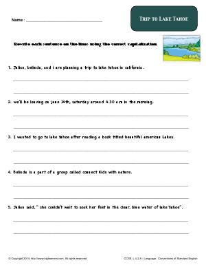 Preview image for worksheet with title Trip to Lake Tahoe
