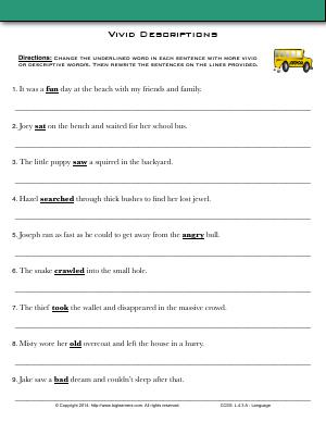 Preview image for worksheet with title Vivid Descriptions