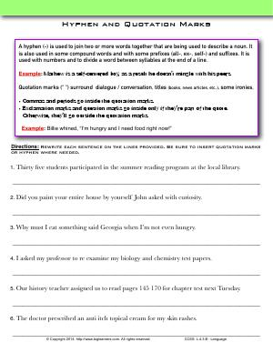 Preview image for worksheet with title Hyphen and Quotation Marks