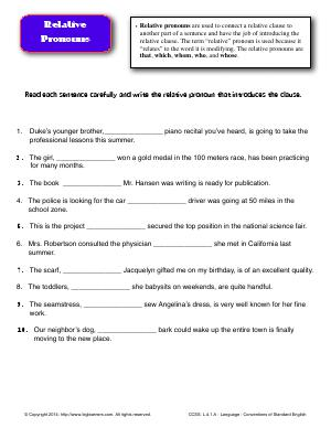 Preview image for worksheet with title Relative Pronouns