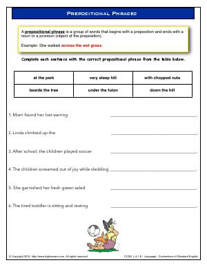 Preview image for worksheet with title Prepositional Phrases