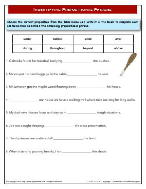 Preview image for worksheet with title Indentifying Prepositional Phrases