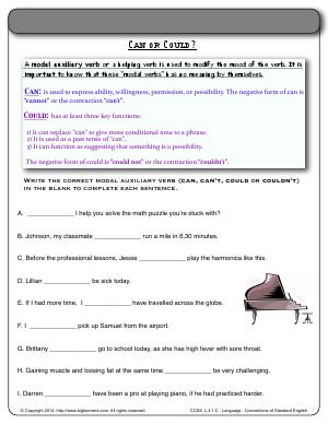 Preview image for worksheet with title Can or Could?